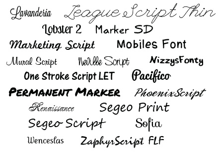 Script And Handwriting Fonts 2