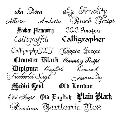 Fancy Calligraphy Fonts