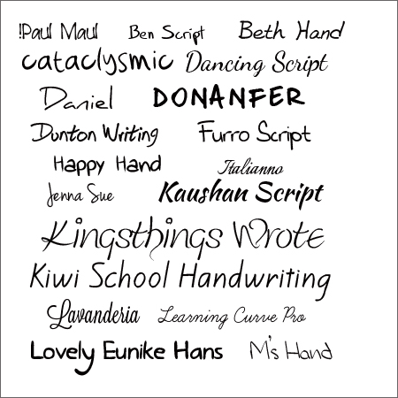 Handwriting Fonts August 2013