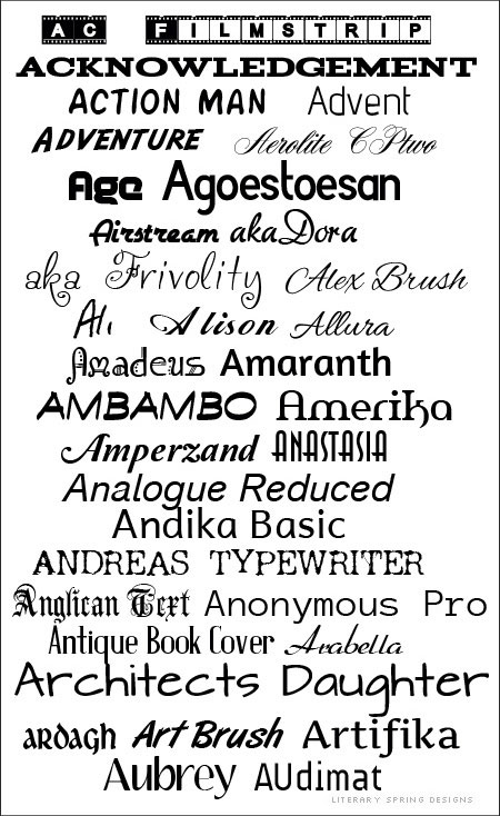 Fonts: The A List
