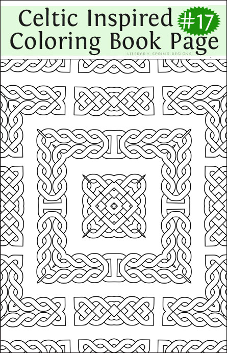 printable fancy celtic inspired coloring book page sweet sixteen - Celtic Coloring Book