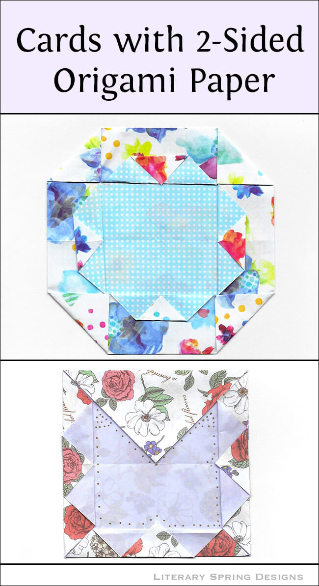cards with double sided origami paper  literary spring