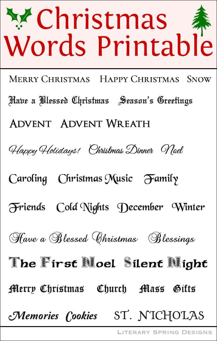 Christmas Words Printable 2018