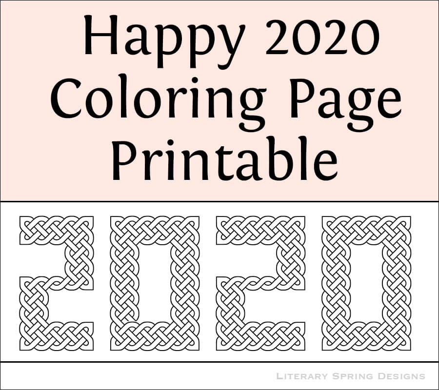 2020 Celtic Knot Coloring Page | Literary Spring Designs
